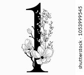 vector hand drawn floral number ...   Shutterstock .eps vector #1053999545