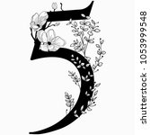vector hand drawn floral number ...   Shutterstock .eps vector #1053999548