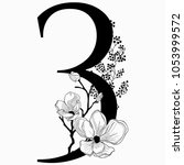 vector hand drawn floral number ... | Shutterstock .eps vector #1053999572