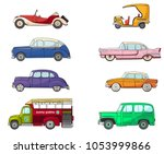 collection with retro car in... | Shutterstock .eps vector #1053999866