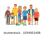 big family portrait including... | Shutterstock .eps vector #1054001408