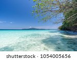 beautiful beach  seascape clear ... | Shutterstock . vector #1054005656
