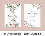 vector invitation with handmade ... | Shutterstock .eps vector #1054008665