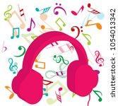 pink headphones on background... | Shutterstock . vector #1054013342