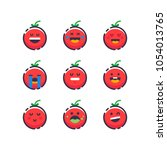 set of cute smiley tomatoes.... | Shutterstock .eps vector #1054013765