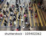 Busy Crossing Street In Hong...