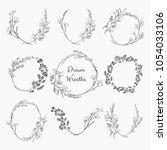 set of 9 black doodle hand... | Shutterstock .eps vector #1054033106