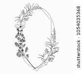 black vector floristic frame... | Shutterstock .eps vector #1054035368