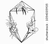 black vector floristic frame...   Shutterstock .eps vector #1054035935