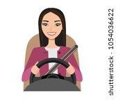 asian woman driving a car.... | Shutterstock .eps vector #1054036622