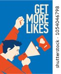 get more likes announcement.... | Shutterstock .eps vector #1054046798