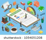 credit report  flat isometric... | Shutterstock .eps vector #1054051208