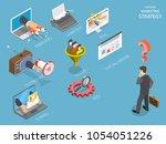 choosing marking strategy flat...   Shutterstock .eps vector #1054051226