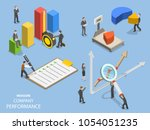 business benchmarking flat... | Shutterstock .eps vector #1054051235