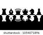 chess pieces set of icons in... | Shutterstock .eps vector #1054071896