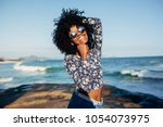 young beautiful brazilian girl... | Shutterstock . vector #1054073975
