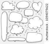 hand drawn bubbles set. doodle... | Shutterstock .eps vector #1054075622