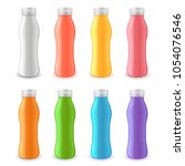 colorful yogurt plastic bottle... | Shutterstock .eps vector #1054076546