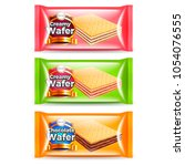 creamy wafer packaging three... | Shutterstock .eps vector #1054076555