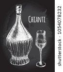vintage of chianti wine bottle... | Shutterstock .eps vector #1054078232