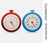 red and blue realistic timers... | Shutterstock .eps vector #1054080752