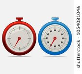 red and blue realistic timers... | Shutterstock .eps vector #1054081046