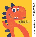 Stock vector cute dinosaur drawn as vector with grunge texture for kids fashion 1054087766