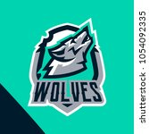 colorful emblem of the howling... | Shutterstock .eps vector #1054092335