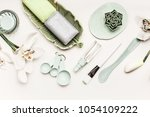 cosmetic skin care flat lay...   Shutterstock . vector #1054109222