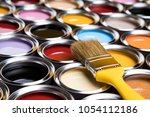 tin metal cans with color paint ... | Shutterstock . vector #1054112186