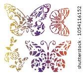 butterfly stencils art | Shutterstock .eps vector #1054116152