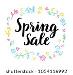 spring sale cute calligraphic... | Shutterstock .eps vector #1054116992