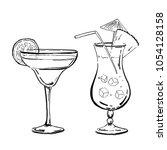 outline hand drawn margarita... | Shutterstock .eps vector #1054128158
