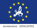 flag of europe with division of ... | Shutterstock .eps vector #1054129352