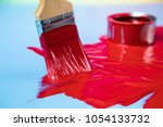 colorful paint cans with... | Shutterstock . vector #1054133732