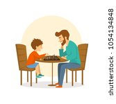 father and son  man and boy... | Shutterstock .eps vector #1054134848