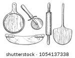 vector illustration of pizza... | Shutterstock .eps vector #1054137338