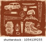 vintage hand drawn adventure... | Shutterstock .eps vector #1054139255