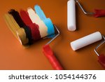 paint roller  tin metal cans... | Shutterstock . vector #1054144376
