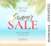 summer sale banner with text ... | Shutterstock .eps vector #1054145522