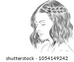 a hand drawn portrait of a... | Shutterstock .eps vector #1054149242