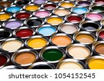 group of tin metal cans with... | Shutterstock . vector #1054152545