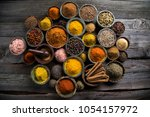 variety of spices and herbs on... | Shutterstock . vector #1054157972