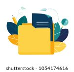vector flat illustration  cloud ... | Shutterstock .eps vector #1054174616