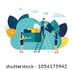 vector flat illustration  cloud ... | Shutterstock .eps vector #1054175942