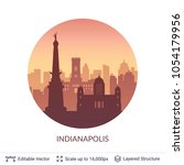 indianapolis famous city scape. ... | Shutterstock .eps vector #1054179956