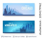 chicago and minneapolis famous... | Shutterstock .eps vector #1054179962