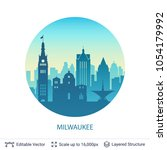 milwaukee famous city scape.... | Shutterstock .eps vector #1054179992