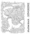vector fantasy urban landscape... | Shutterstock .eps vector #1054182002