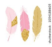 cute poster with pink and gold... | Shutterstock .eps vector #1054188605